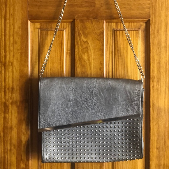 Handbags - Silver Studded Asymmetrical Messenger Bag